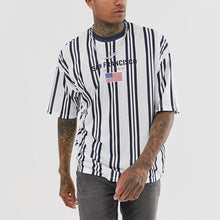 Load image into Gallery viewer, Men's Fashion Stripe Colorblock Short Sleeve T-Shirt