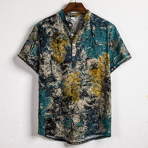 Casual Floral Pattern Flax Short Sleeve Shirt