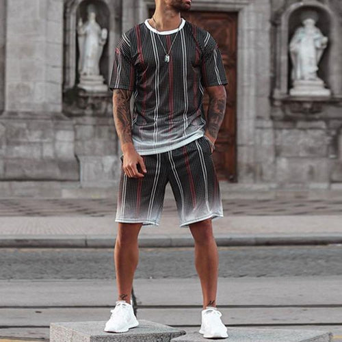Men's Round Collar Printed Short-Sleeved T-Shirts And Shorts  Suits