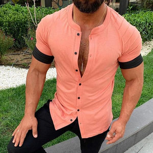 Casual Pure Colour Pleated Short Sleeve Shirt