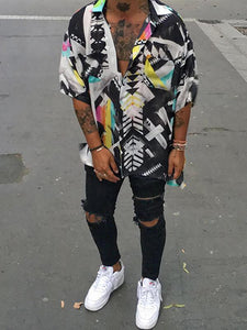 Street Fashion Loose Contrast Color Printed Shirt