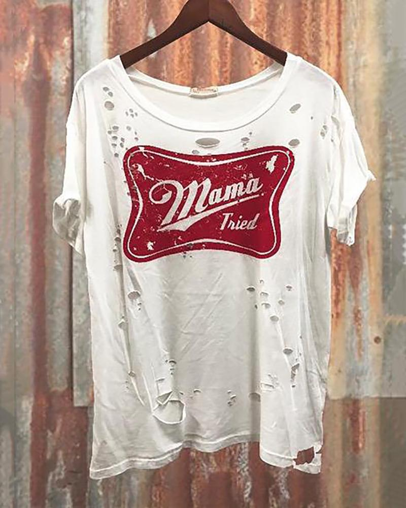 Round Collar Short Sleeve Broken Hole Letter T-Shirt