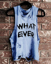 Load image into Gallery viewer, Round Neck Sleeveless Letter-Print Broken Holes Distressed T-Shirt