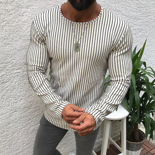Casual Basic Section Stripe Long Sleeve T-Shirt