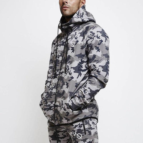 Fashion Camouflage Printed Hooded Long Sleeve Sweaters