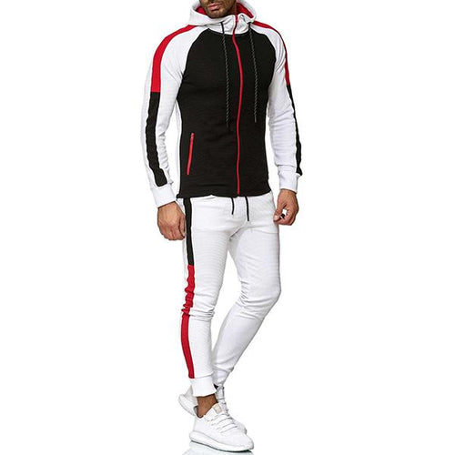 Men's Casual Striped Top And Pants Sports Suits