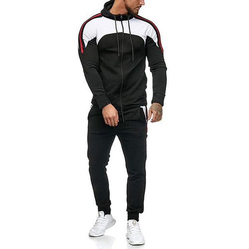 Men's Fine Striped Top And Pants Sports Suits