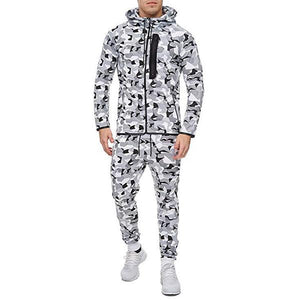 Men's Camouflage Printed Hooded Top And Pants Playsuits