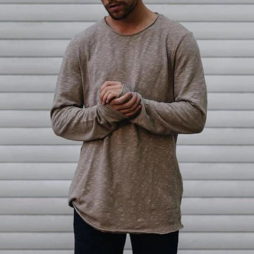 Men's Pure Colour Round Neck Long Sleeve T-Shirt