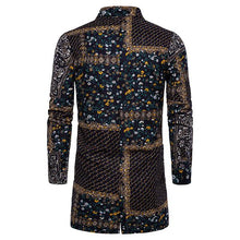Load image into Gallery viewer, Men's Lapel Single Breasted Long Sleeve Print Long Shirt.