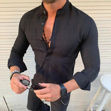 Load image into Gallery viewer, Men's Stand Collar Single Breasted Long Sleeved Casual Shirt