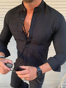 Men's Stand Collar Single Breasted Long Sleeved Casual Shirt