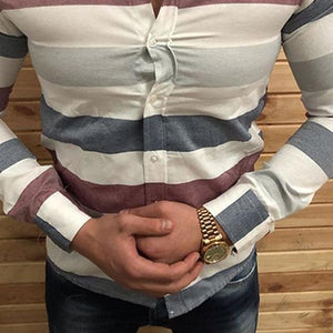 Men's Lapel Single-Breasted Long-Sleeved Striped Shirt