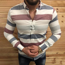 Load image into Gallery viewer, Men's Lapel Single-Breasted Long-Sleeved Striped Shirt