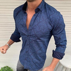 Casual Men's Lapel Single Breasted Long-Sleeved Printing Shirt