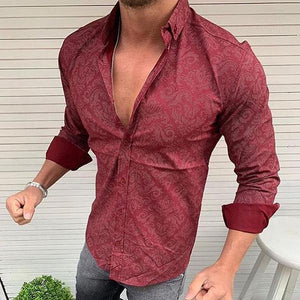 Men's Casual Lapel Single Row Buckle Long-Sleeved Shirt