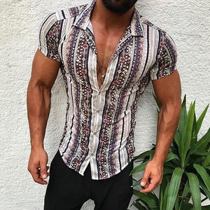 Casual Men's Lapel Single-Breasted Short-Sleeved Printed Shirt