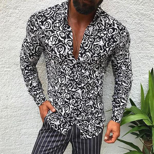 Men's Lapel Long-Sleeved Printed Casual Shirts