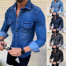 Load image into Gallery viewer, Slim-Fit Solid Color Lapel Pocket Shirt