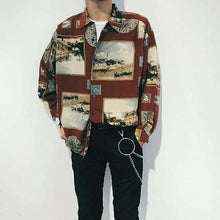 Load image into Gallery viewer, Vintage Splicing Printed Lapel Loose Shirt