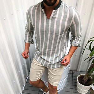 Casual V Neck Stripe Long Sleeve T-Shirt