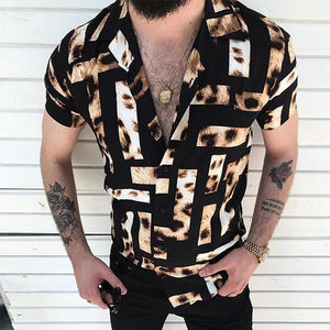 Minimalist Men's Fashion Plaid Leopard Print Short Sleeve Shirt