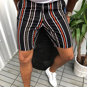 Men's Fashion Colorblock Striped Slim Shorts