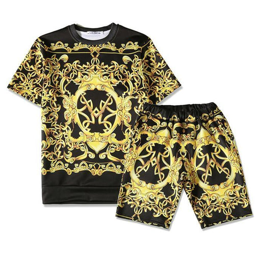 Men's Plus Size British Short-Sleeved Five-Point Pants High-Quality Print Set