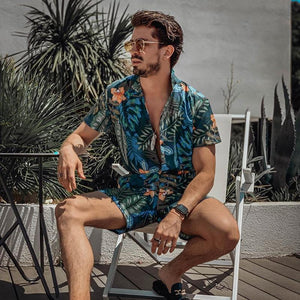 Fashion Men's Printed Shirt Shorts Suits