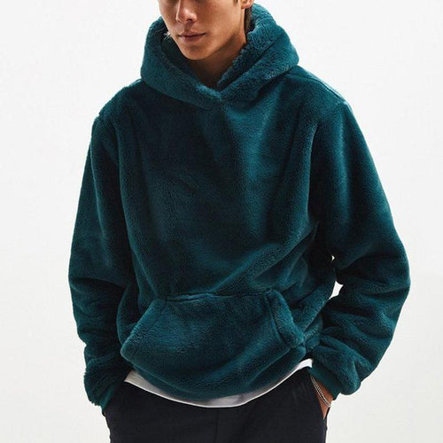 Casual Solid Color Hooded Plush Men's Sweatershirt