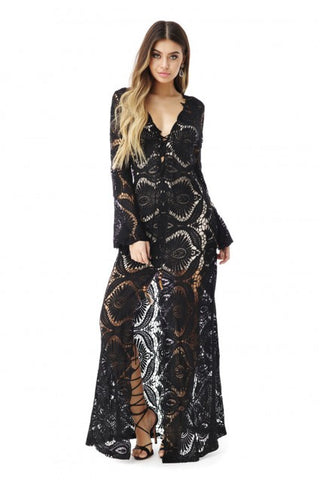 Sky/AG767-7R Black Maxi Dress