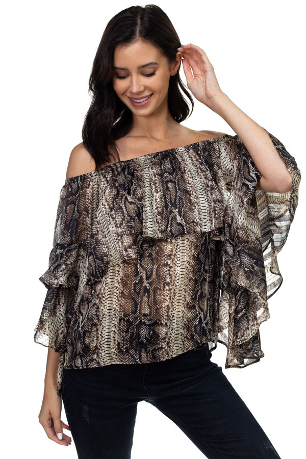Ariella/T1186-P564 ruffled sleeve top
