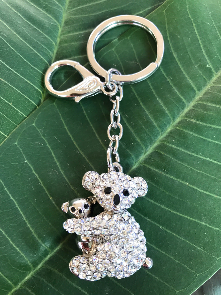KB02 Mother Koala with baby Key and Bag charm made with Swarovski Crystals