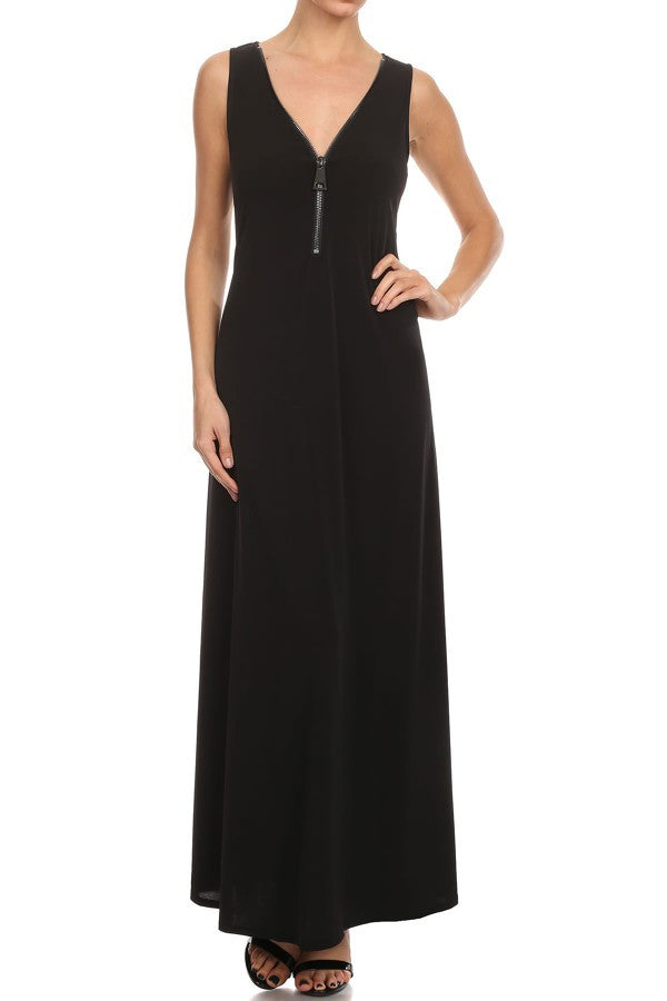 Ariella | D665-ITY Big Zipper Sleeveless Maxi Dress in Black