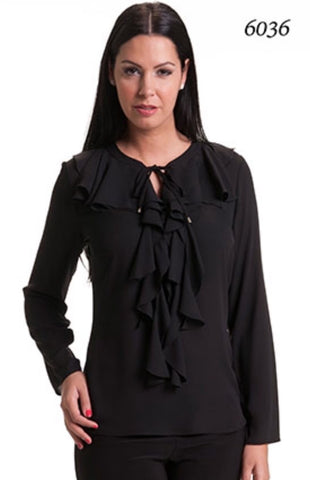 Bali/6036 Ruffle Blouse with tie