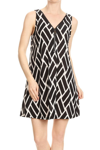 Ariella/D647-V327 Sleeveless short Zipper dress