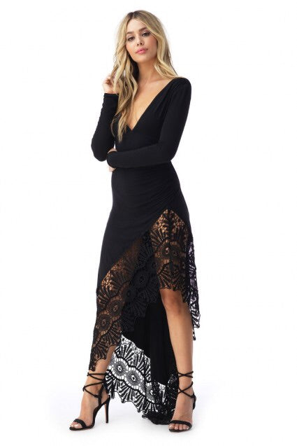 Sky/AP400RX high low embroidered black dress