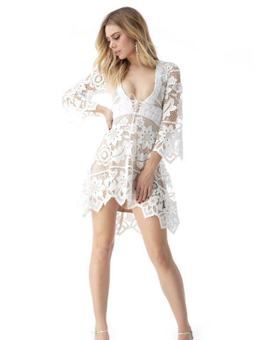 Sky/AD56319M white lace mini dress