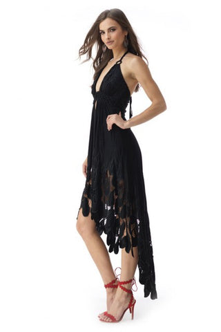 Sky/AJ67813T Black high low dress