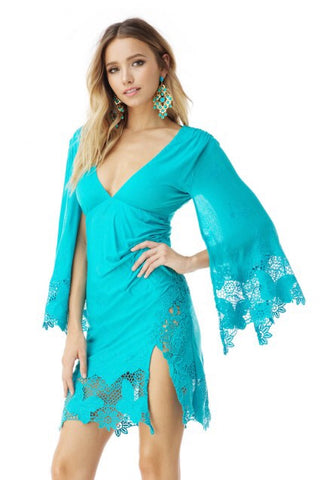 Sky/AJ57914C- turquoise mini with bell sleeves