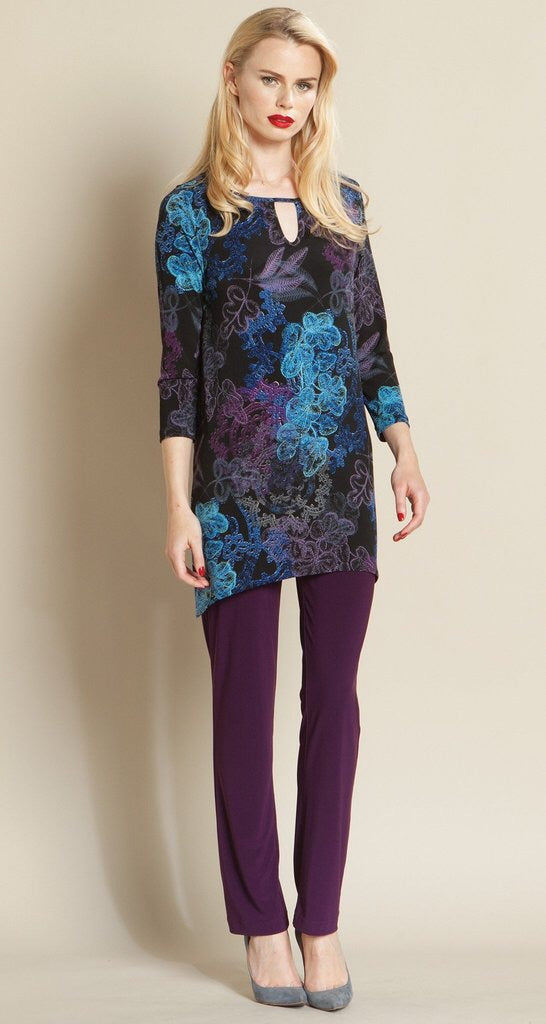 Clara-Sun Woo/TU87P blue/black tunic with keyhole front