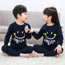 Laden Sie das Bild in den Galerie-Viewer, Kinder Baumwolle Unisex Winter Pyjamas dunkelblau