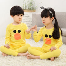 Laden Sie das Bild in den Galerie-Viewer, Kinder Baumwolle Unisex Winter Pyjamas Gelb
