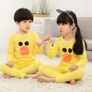 Kinder Baumwolle Unisex Winter Pyjamas Gelb