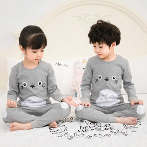Kinder Baumwolle Unisex Winter Pyjamas Grau
