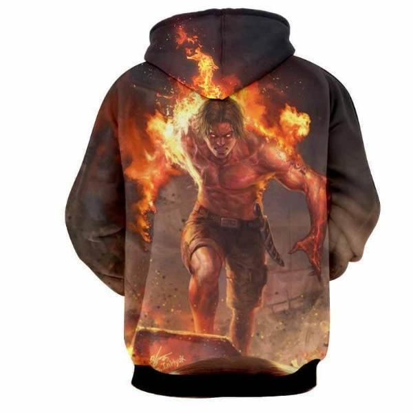 One Piece Hoodie XXS Ace On Fire 3D Hoodie - One Piece Hoodie
