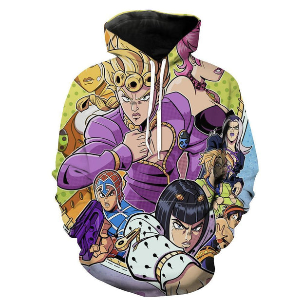 OF-HN1 Anime Clothing XS / Hoodie All Golden Wind Character Hoodie - JoJo's Bizarre Adventure Clothing
