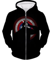OtakuForm-OP T-Shirt Zip Up Hoodie / XXS American Comic Hero Captain America Silhouette Promo Black T-Shirt