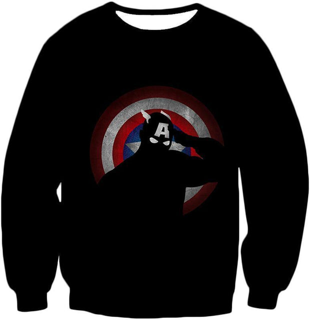 OtakuForm-OP Zip Up Hoodie Sweatshirt / XXS American Comic Hero Captain America Silhouette Promo Black Zip Up Hoodie