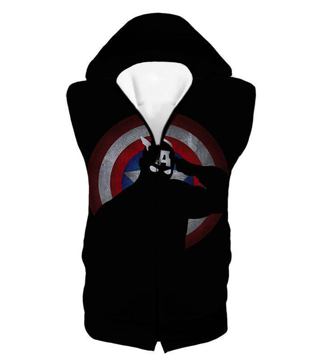 OtakuForm-OP Zip Up Hoodie Hooded Tank Top / XXS American Comic Hero Captain America Silhouette Promo Black Zip Up Hoodie